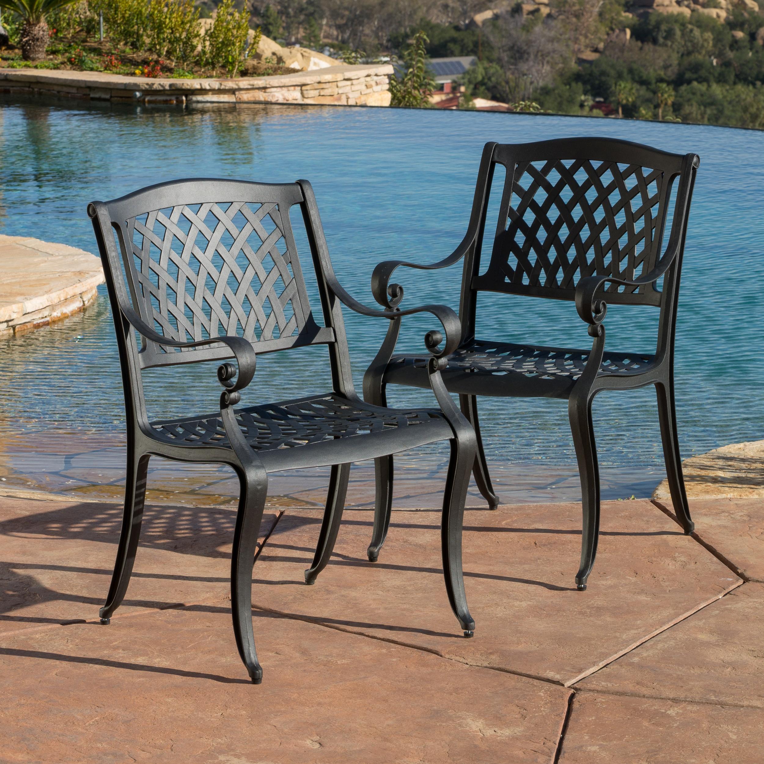 Incredible Outdoor Cayman Cast Aluminum Outdoor Chair Set Of 2 By Christopher Knight Home Inzonedesignstudio Interior Chair Design Inzonedesignstudiocom