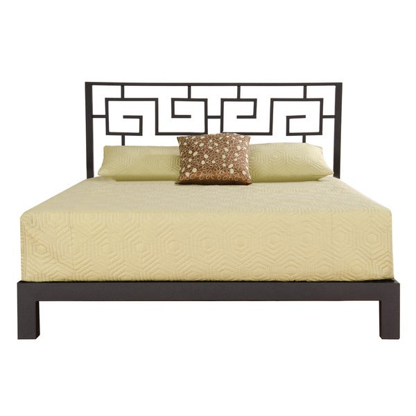 Shop Greek Key Black Headboard And Aura Black Platform Bed