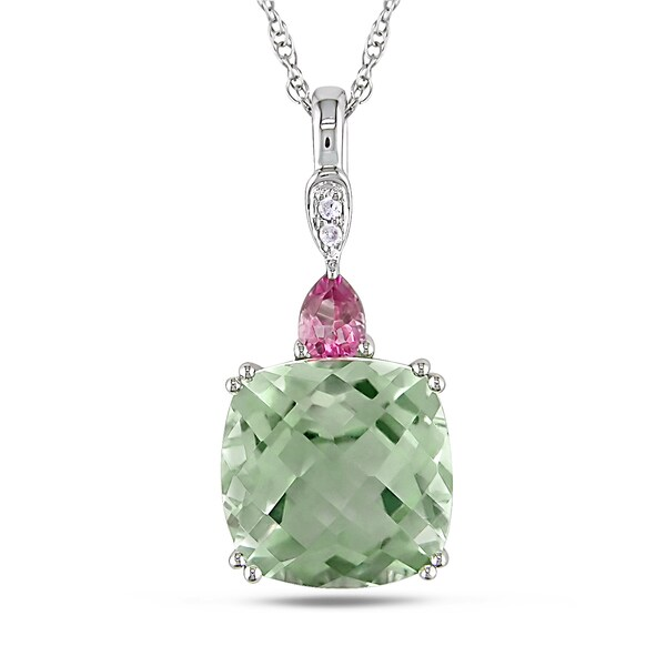 Miadora 10k White Gold 4ct TGW Green Amethyst, Pink Topaz and Diamond Accent Necklace