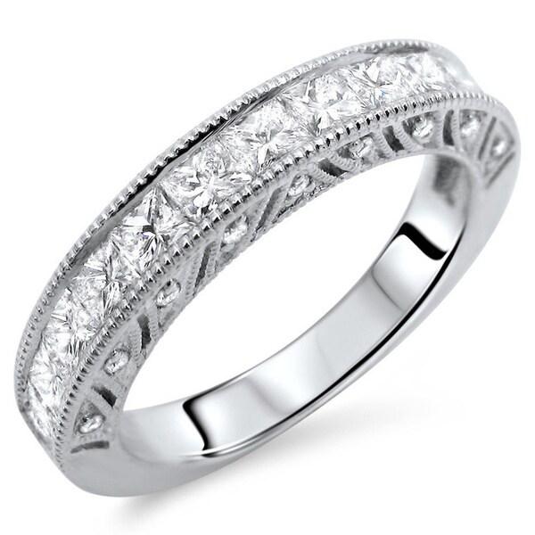 Noori 18k White Gold 1 1/10ct TDW Princess-cut Diamond Wedding Band