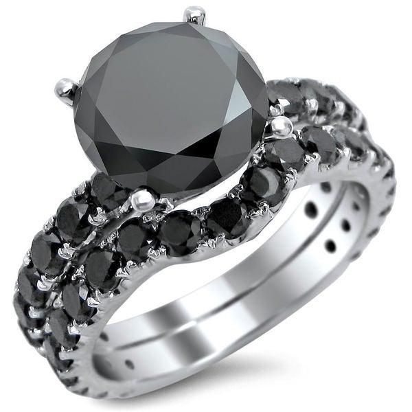 Noori 14k White Gold 4 2/5ct TDW Round Black Diamond Bridal Set