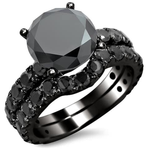 14k Black Gold 4 2/5ct TDW Black Round Diamond Bridal Set