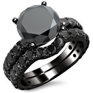 Noori 14k Black Gold 4 2/5ct TDW Black Round Diamond Bridal Set