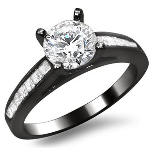 Noori 14k Black Gold 1 1/4ct Round Princess-cut Diamond Engagement Ring