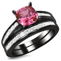 Noori 14k Black Gold 1ct TDW Cushion-cut Diamond and Pink Sapphire Engagement Ring Bridal Set