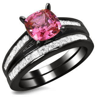 Noori 14k Black Gold 1ct TDW Cushion-cut Diamond and Pink Sapphire Engagement Ring Bridal Set