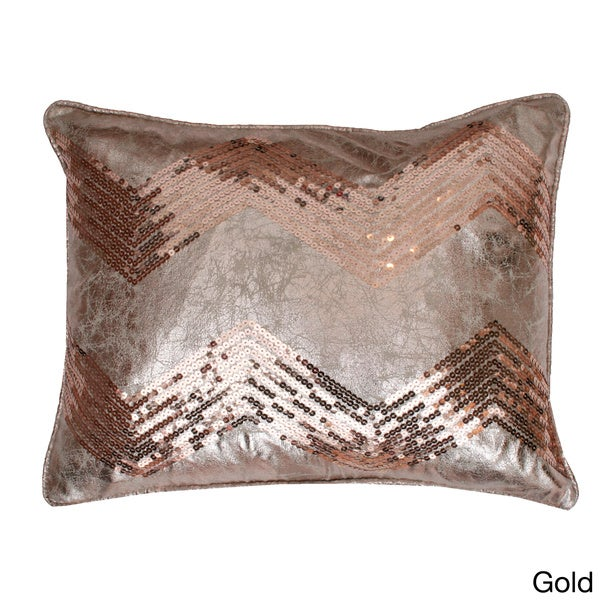 Crackle Chevron Feather Filled Sequin Pillow