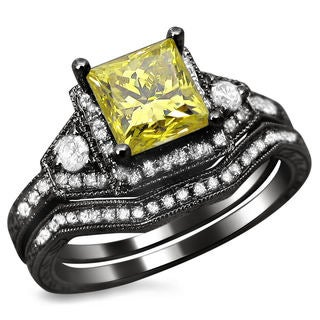 Noori 14k Black Gold 1 2/5ct TDW Princess Cut Yellow and White Diamond Bridal Set
