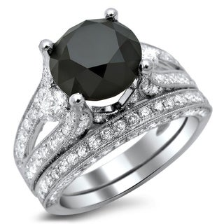 Noori 18k White Gold 5 1/10ct TDW Black and White Diamond 3-stone Ring