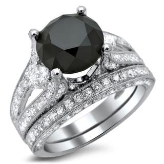 Noori 18k White Gold 5 1/10ct TDW Black and White Diamond 3-stone Ring