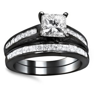 Noori 14k Black Gold 1 3/4ct Princess Cut Channel Diamond Bridal Set (G-H, SI1-SI2)