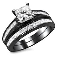 Noori 14k Black Gold 1 3/4ct TDW Princess Cut Diamond Bridal Set