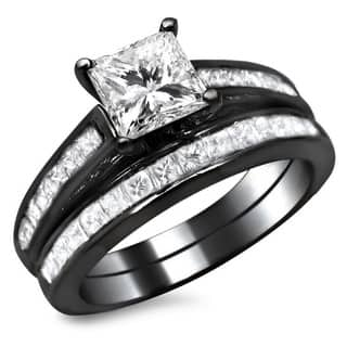 noori 14k black gold 1 34ct tdw princess cut diamond bridal set - Black Gold Wedding Ring