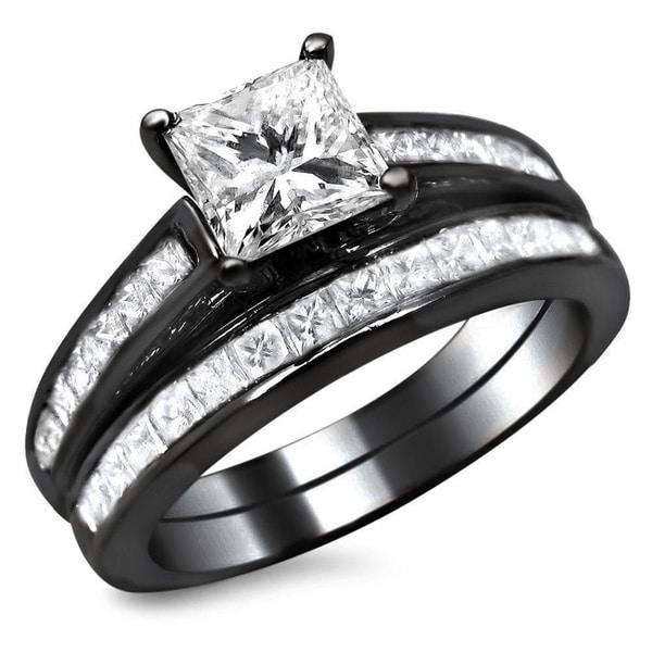 Noori 14k Black Gold 1 3/4ct TDW Princess Cut Diamond Bridal Set