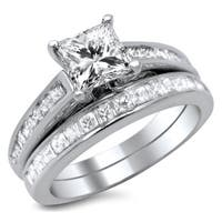 Noori 14k White Gold 1 3/4ct Certified Enhanced Princess Diamond Bridal Ring Set