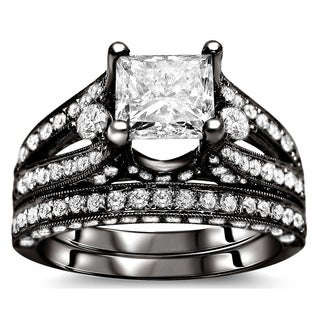 Noori 18k Black Gold 2 3/5 ct Certified Princess-cut Enhanced Diamond Bridal Set (G-H, SI1-SI2)