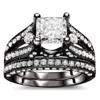 Noori 18k Black Gold 2 3/5 ct Certified Princess-cut Enhanced Diamond Bridal Set