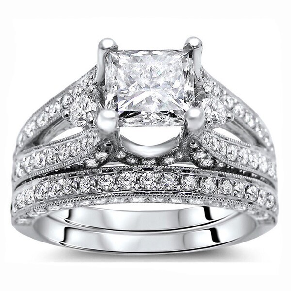 Noori 18k White Gold 2 3/5 ct Certified Princess Enhanced Diamond Bridal Set