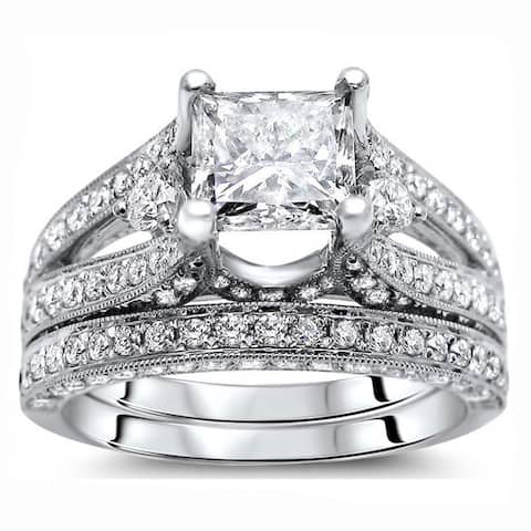 18k White Gold 2 3/5 ct Certified Princess Enhanced Diamond Bridal Set