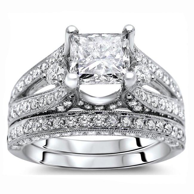 Sz 9.5 2.56ct AntiquePrincess 3-stone Wedding Ring Set
