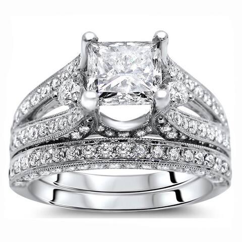 18k White Gold 2 3/5 ct Certified Princess Enhanced Diamond Bridal Set