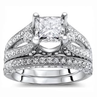 Noori 18k White Gold 2 3/5 ct Certified Princess Enhanced Diamond Bridal Set https://ak1.ostkcdn.com/images/products/8774967/18k-White-Gold-3-1-10ct-Certified-Princess-Enhanced-Diamond-Bridal-Set-G-H-SI1-SI2-P16015169.jpg?impolicy=medium