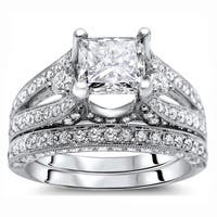 Noori 18k White Gold 2 3/5 ct Certified Princess Enhanced Diamond Bridal Set
