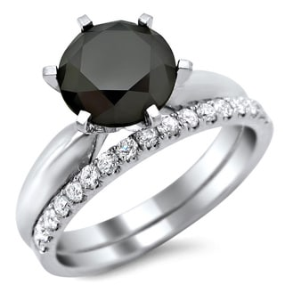 Noori 14k White Gold 2 3/4ct TDW Black and White Diamond Engagement Ring Bridal Set