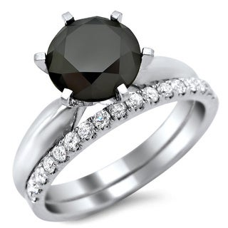 Noori 14k White Gold 2 3/4ct TDW Black and White Diamond Engagement Ring Bridal Set (G-H, VS1-VS2)