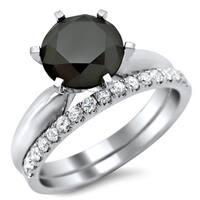 Noori 14k White Gold 2 3/4ct TDW Black and White Diamond Engagement Ring Bridal Set