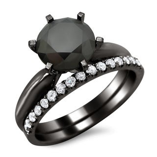 Noori 14k Black Gold 2 3/4ct TDW Black and White Diamond Engagement Ring Bridal Set (G-H, SI1-SI2)