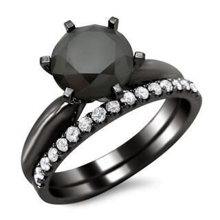 Noori 14k Black Gold 2 3/4ct TDW Black and White Diamond Engagement Ring Bridal Set
