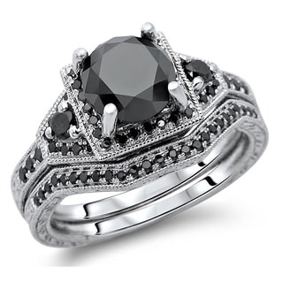 Noori 14k White Gold 3 1/10ct TDW Black Round Diamond Bridal Set