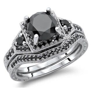 Noori 14k White Gold 3 1/10ct TDW Black Round Diamond Bridal Set