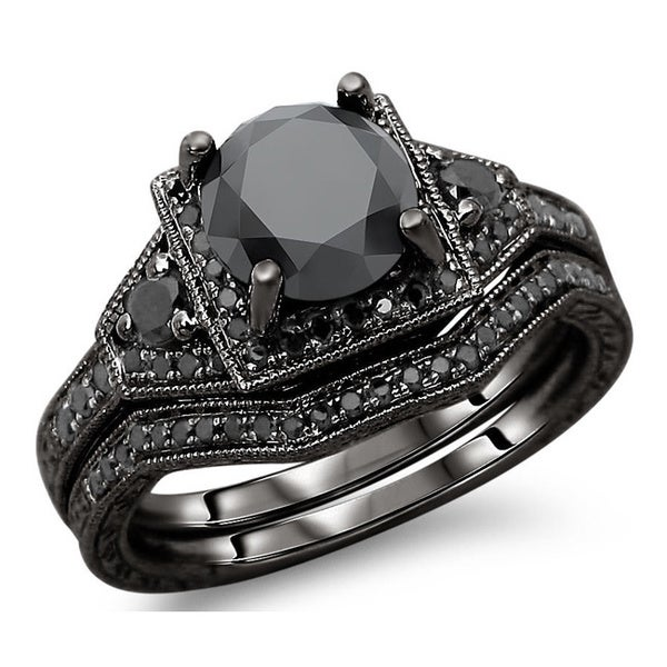 Noori 14k Black Gold 3ct TDW Black Round Diamond Engagement Ring Bridal Set
