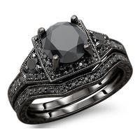 Noori 14k Black Gold 3ct TDW Black Round Diamond Engagement Ring Bridal Set