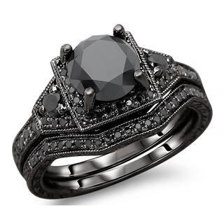 noori 14k black gold 3ct tdw black round diamond engagement ring bridal set - Black Gold Wedding Ring