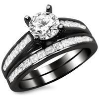 Noori 14k Black Gold 1 1/2ct Round Princess Cut Diamond Engagement Ring Set