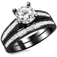 Noori 14k Black Gold 1 3/4ct Round Princess Cut Diamond Engagement Ring Set
