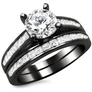 Noori 14k Black Gold 1 3/4ct Round Princess Cut Diamond Engagement Ring Set