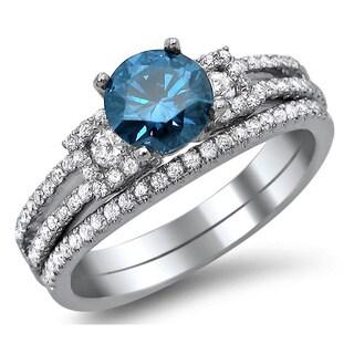 Noori 18k White Gold 1 2/5ct TDW Blue and White Round Diamond Engagement Ring Bridal Set