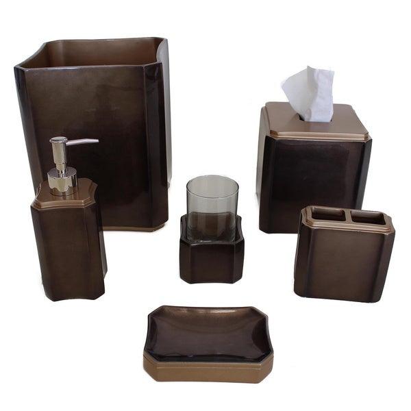 Sherry kline essex ceramic bath accessory 6 piece set for Brown and gold bathroom decor