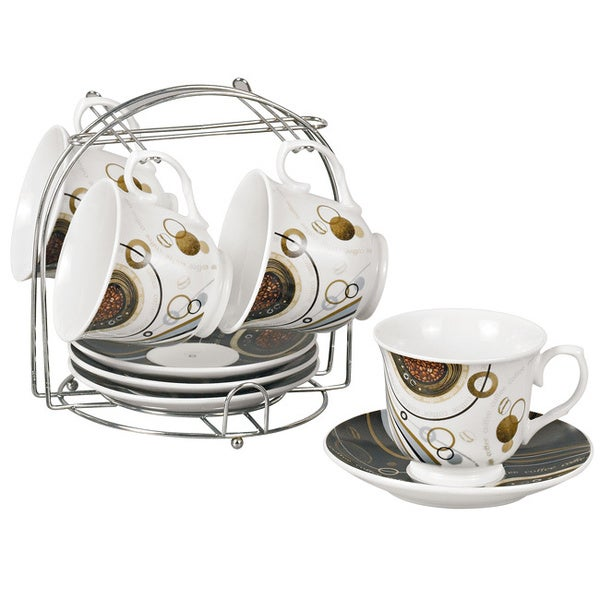 Coffee Bean Porcelain 9-piece Cup/ Saucer Set on Stand. Opens flyout.