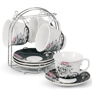 Porcelain Coffee/ Tea 9-piece Set on Metal Stand