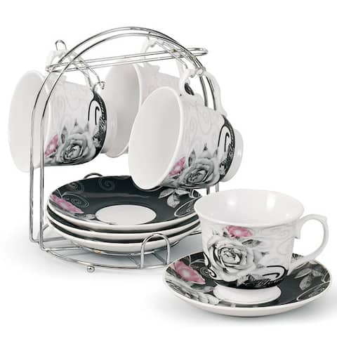 Porcelain Coffee/ Tea 9-piece Set on Metal Stand