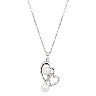 Pearlyta Sterling Silver Freshwater Pearl Cubic Zirconia Double Heart Necklace (6-7.5 mm)