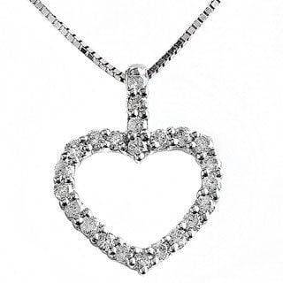 14k White Gold 3/8ct TDW Diamond Open Heart 16-inch Necklace (H-I, I1-I2)
