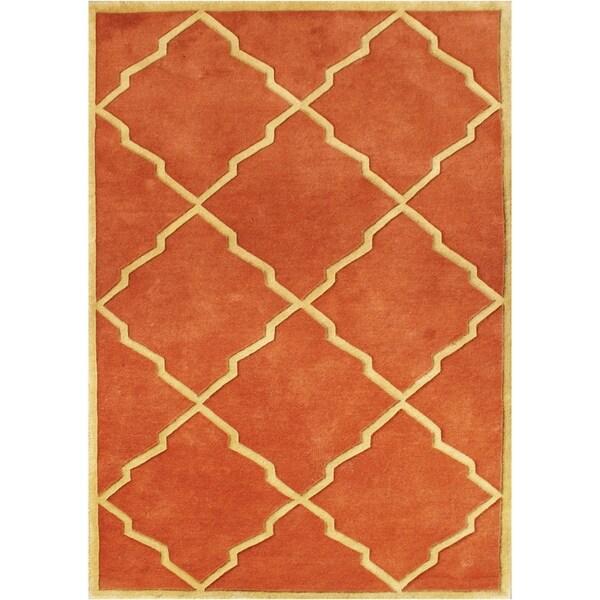 Alliyah Handmade Rust New Zealand Blend Wool Rugg (9' x 12') - 9' x 12'