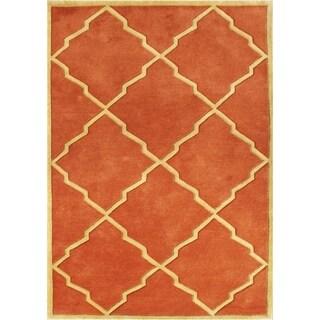 Alliyah Handmade Rust New Zealand Blend Wool Rugg (9' x 12')