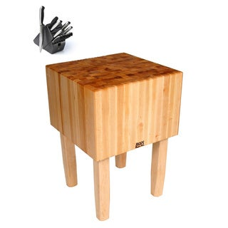 John Boos AA03 Butcher Block 30 x 24 x 34 Table and Henckels 13-piece Knife Block Set